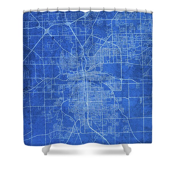 Fort Wayne Indiana City Street Map Blueprints Shower Curtain