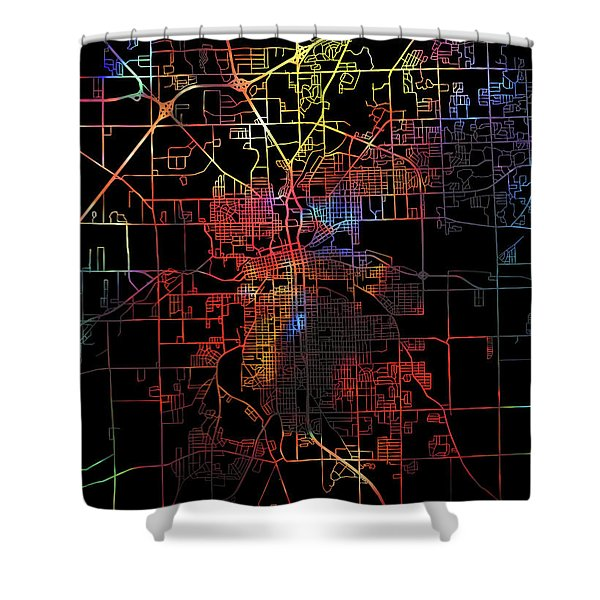 Fort Wayne Indiana Watercolor City Street Map Dark Mode Shower Curtain