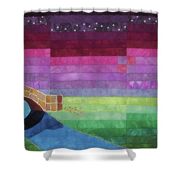 Four Patch Bridge At Sunset Shower Curtain