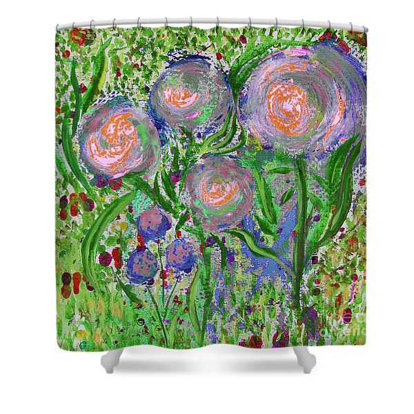 Four Pink Flowers In Green Shower Curtain