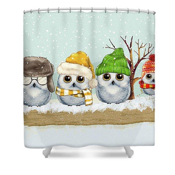 Four Winter Owls Shower Curtain