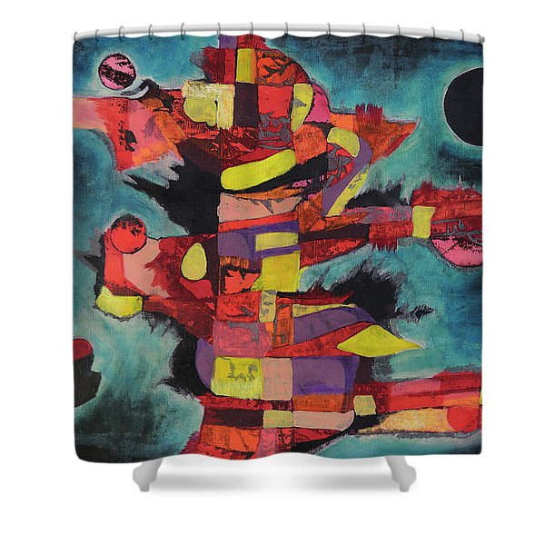 Fractured Fire Shower Curtain