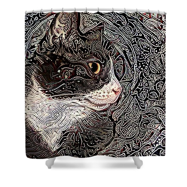 Franklyn The Tuxedo Cat Shower Curtain