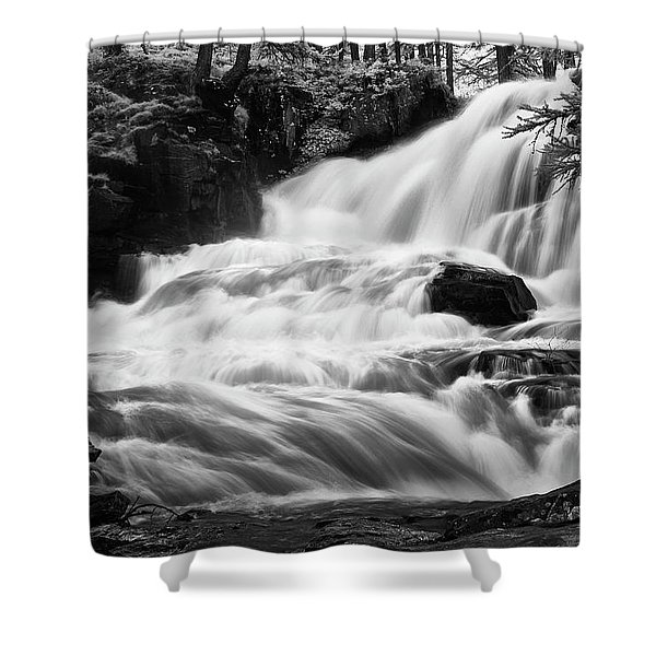 French Alps Stream Shower Curtain