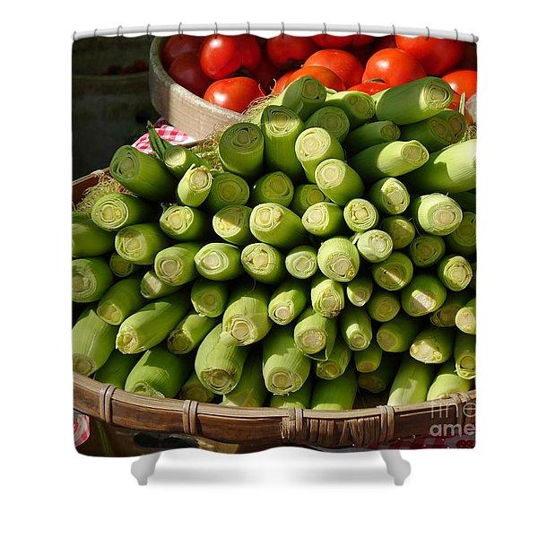 Fresh Baby Corn And Ripe Tomatoes Shower Curtain