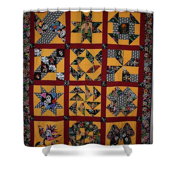 Shower Curtain featuring the tapestry - textile Frida Quilt by Cynthia Marcopulos