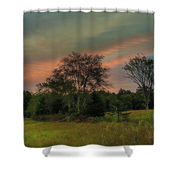 Pine Lands In Friendship Sunrise Shower Curtain