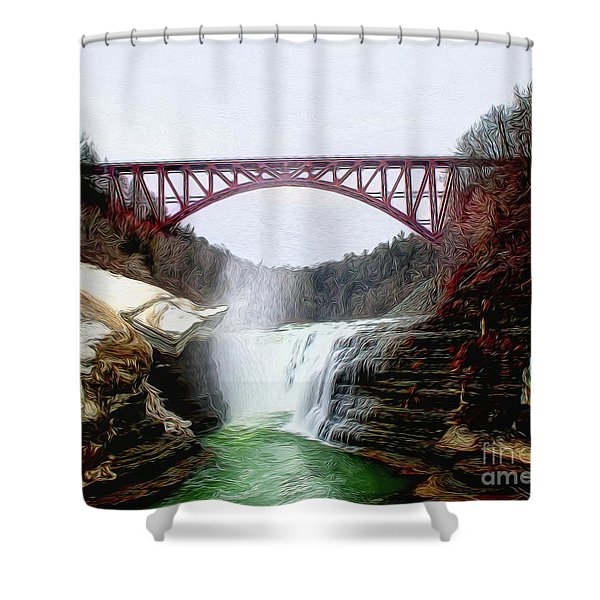 Frletchworth Railroad And Falls Shower Curtain