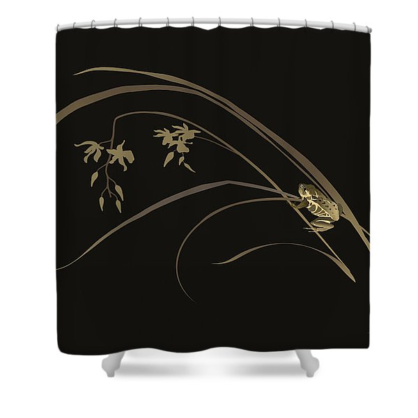 Frog And Orchid Shower Curtain