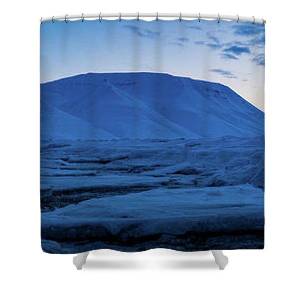 frozen coastline near Longyearbyen Shower Curtain