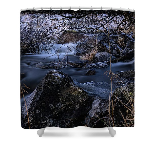Frozen River And Winter In Forest. Long Exposure With Nd Filter Shower Curtain