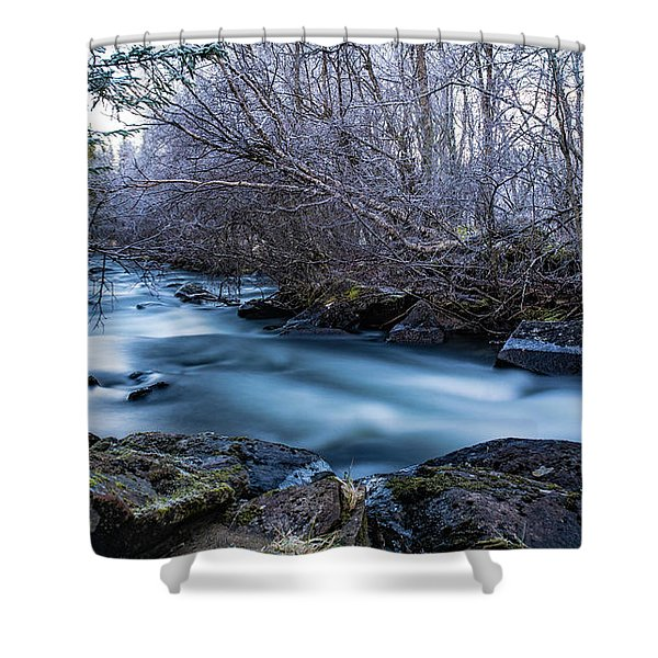 Frozen River Surrounded With Trees Shower Curtain