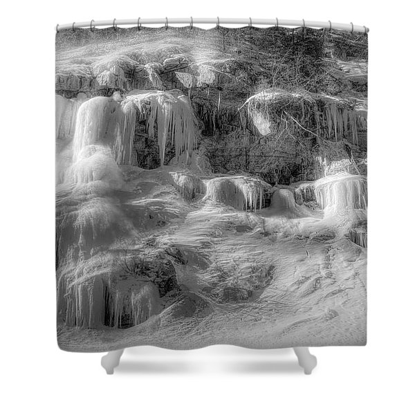 Frozen Snowmelt B And W Shower Curtain