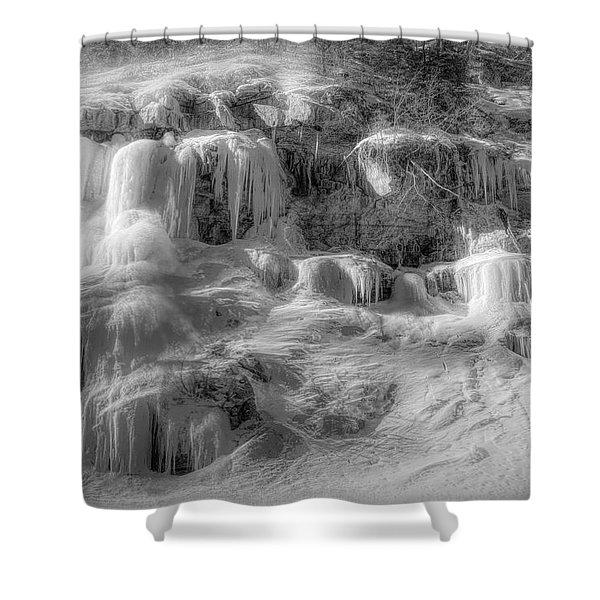 Frozen Snowmelt B And W Shower Curtain