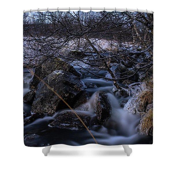 Frozen Stream In Winter Forest Shower Curtain