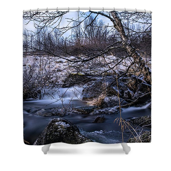 Frozen Tree In Winter River Shower Curtain