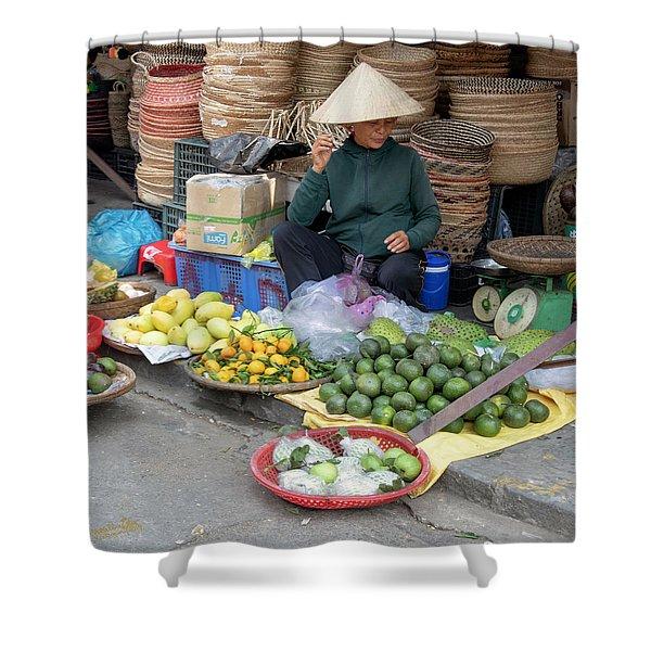 Fruit Market Woman 2, Vietnam Shower Curtain