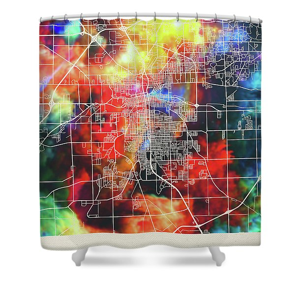 Ft Wayne Indiana Watercolor City Street Map Shower Curtain