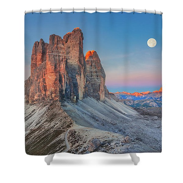 Full Moon Morning On Tre Cime Di Lavaredo Shower Curtain