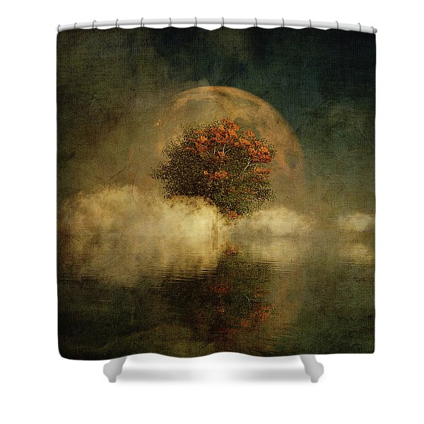 Shower Curtain featuring the digital art Full Moon Over Misty Water by Jan Keteleer