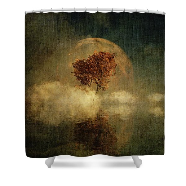 Shower Curtain featuring the digital art Full Moon Over Water by Jan Keteleer