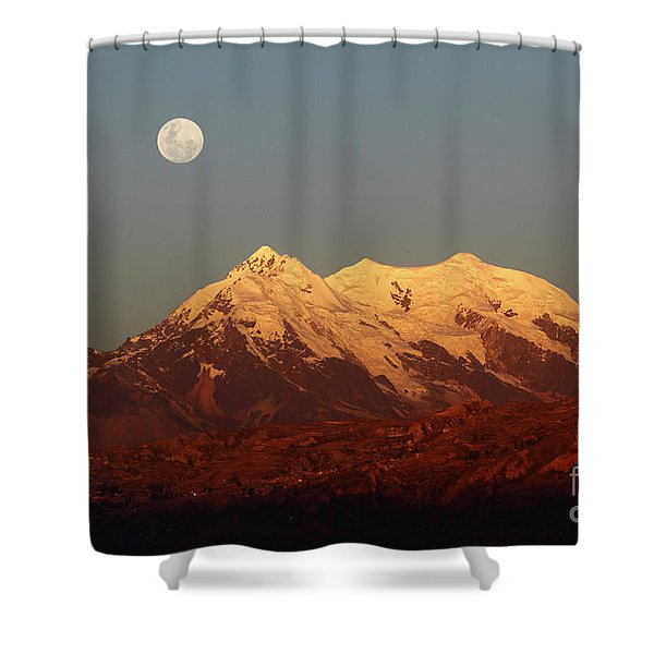 Full Moon Rise Over Mt Illimani Shower Curtain