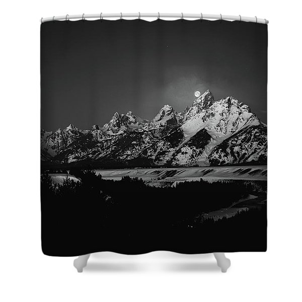 Full Moon Sets In The Tetons Shower Curtain