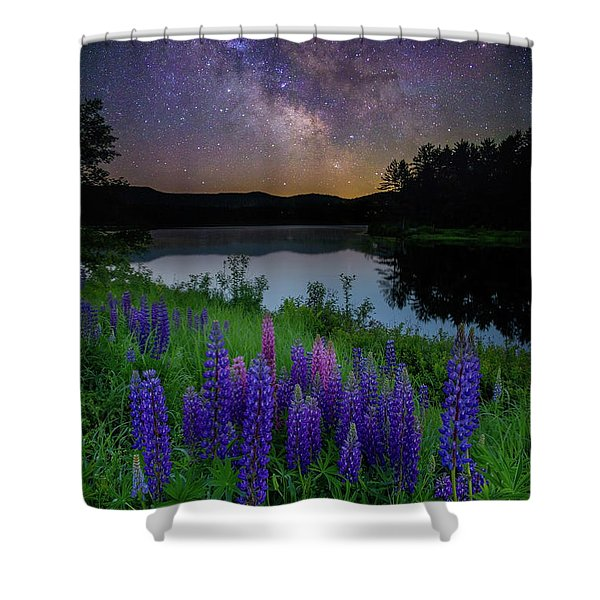 Galactic Lupines Shower Curtain