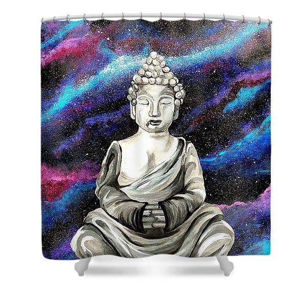 Galaxy Buddha  Shower Curtain