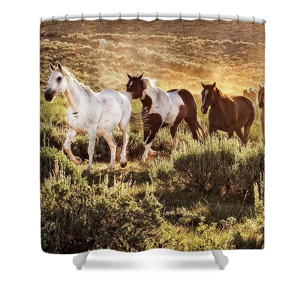 Galloping Down The Mountain Shower Curtain