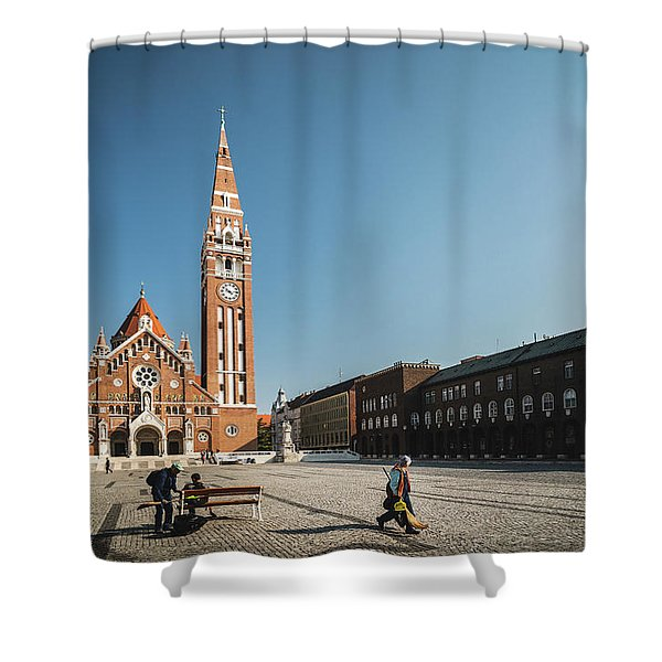 Shower Curtain featuring the photograph Garbage Cleaners On Dom Square In Szeged  by Milan Ljubisavljevic