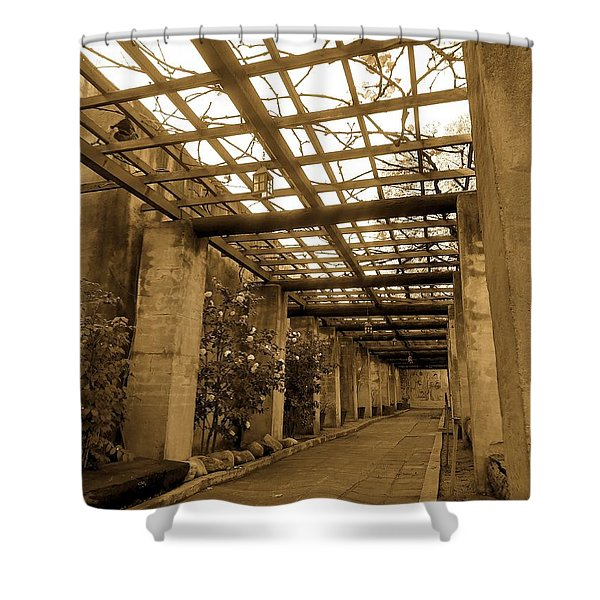 Garden At San Gabriel Mission By Richard Cuevas  Shower Curtain
