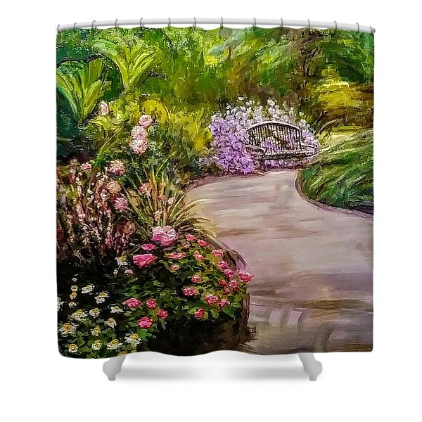 Path To The Garden Bench At Evergreen Arboretum Shower Curtain