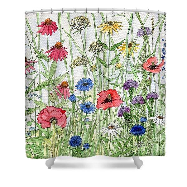Garden Flower Medley Watercolor Shower Curtain
