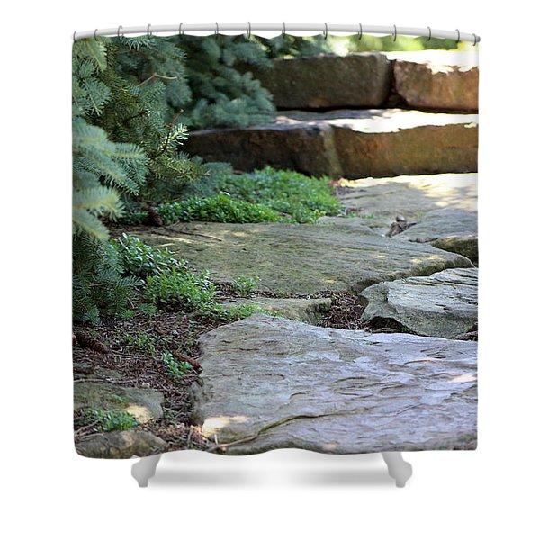 Garden Landscape - Stone Stairs Shower Curtain