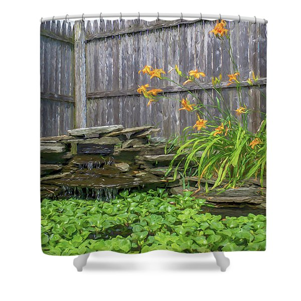 Garden Pond With Orange Day Lilies Shower Curtain