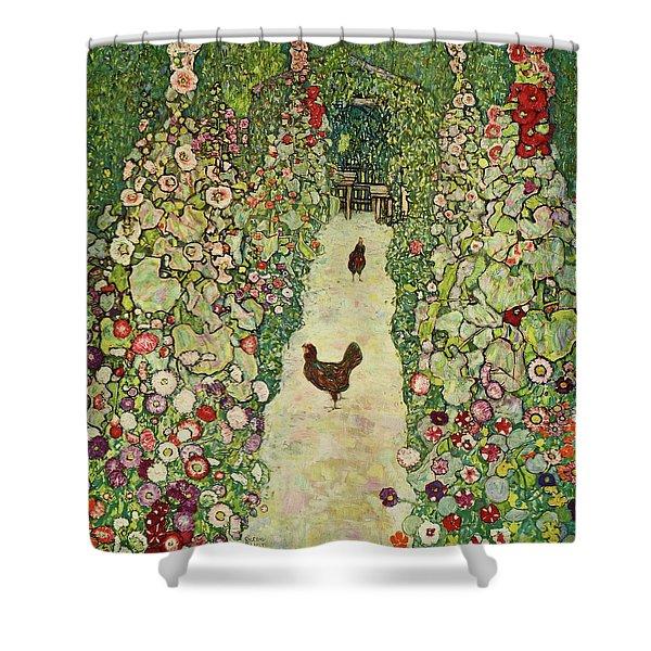 Garden With Chickens, 1916 Shower Curtain