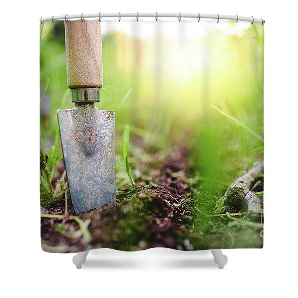 Gardening Shovel In An Orchard During The Gardener's Rest Shower Curtain
