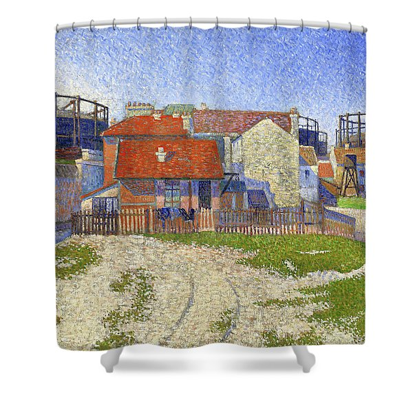 Gasometers At Clichy - Digital Remastered Edition Shower Curtain