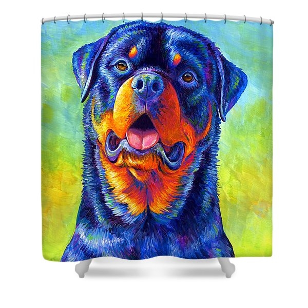 Gentle Guardian Colorful Rottweiler Dog Shower Curtain