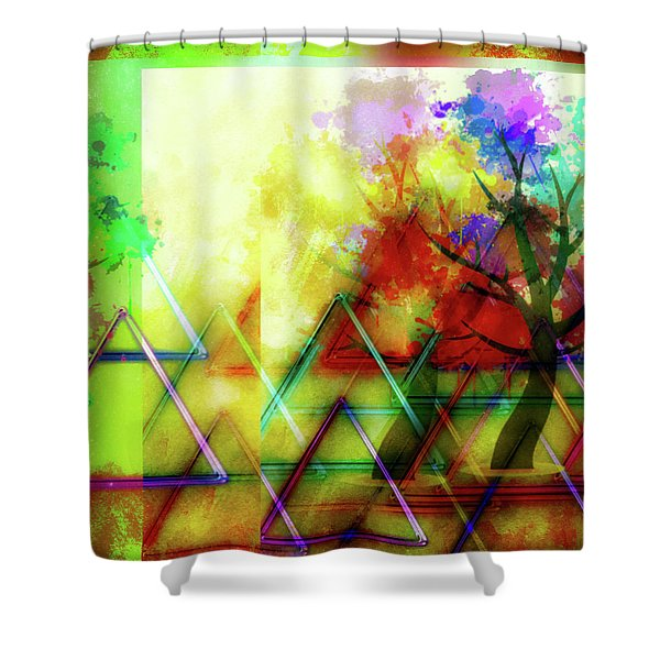 Geometric Abstract Shower Curtain