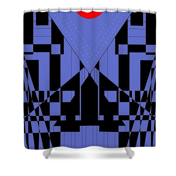 Geometric Red Dot  Shower Curtain