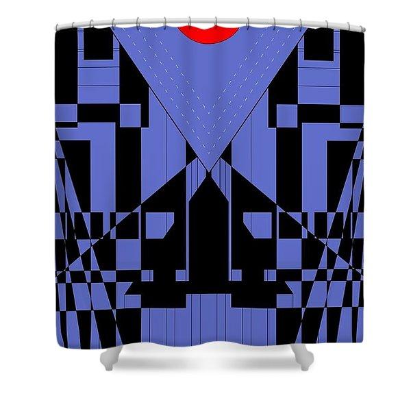 Geometric Red Dot  Shower Curtain