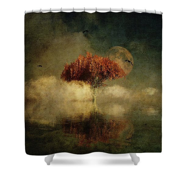 Shower Curtain featuring the digital art Giant Oak In A Dream by Jan Keteleer