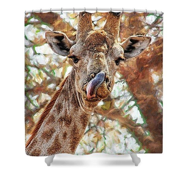 Giraffe Says Yum Shower Curtain