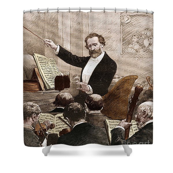 Giuseppe Verdi Leading The Opera Orchestra To The First Representation Of Aida In Paris In 1880 Shower Curtain