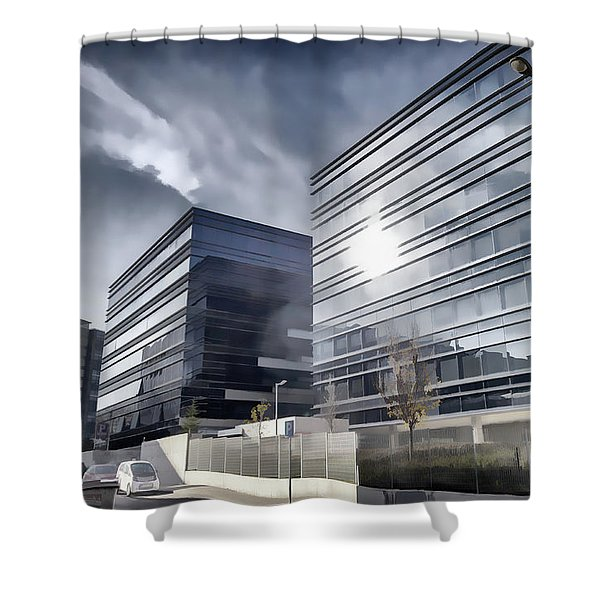 Glass And Steel Shower Curtain