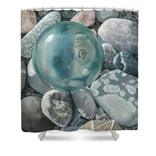 Glass Float And Beach Rocks Shower Curtain