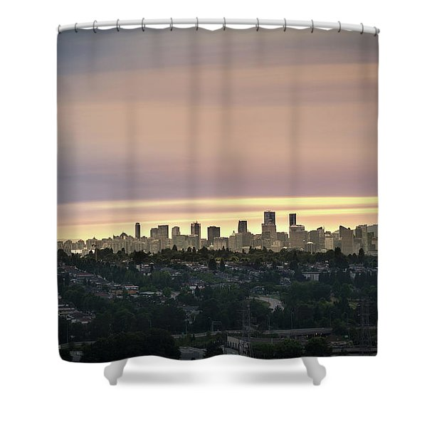 Golden Sky On Vancouver Shower Curtain