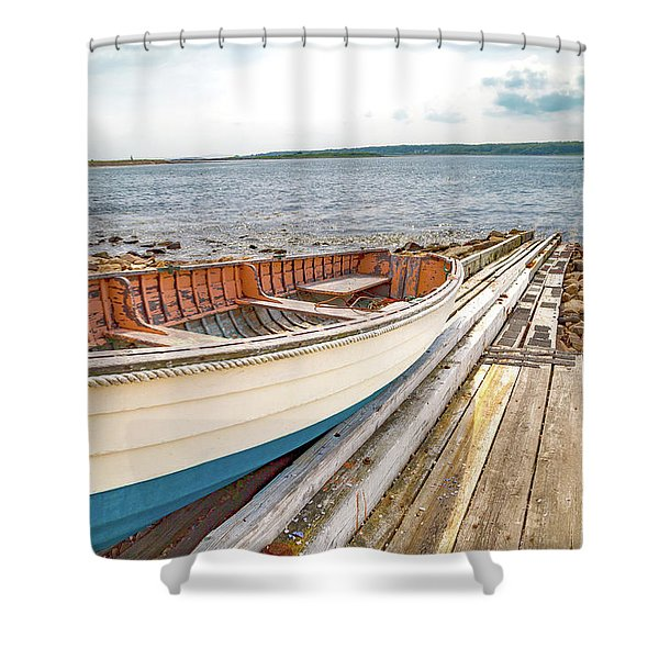 Goat Island Boat Ramp Shower Curtain